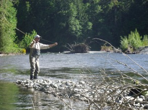 Fly casting the Cowichan