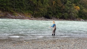 Fly fishing for pinks