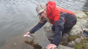 vik zeller, of medicine hat, ab chasing rainbows on beaver lake