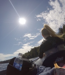 Rowing along the shorelines of Elk Lake in pursuit of trout