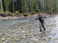 Landing a rainbow trout solo with a 12 foot rod
