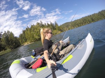 Bucktailing fall lakes in a frameless pontoon boat