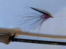 Pink Spey style fly with Spey rod.